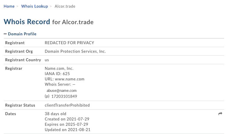 alcor trade avis - réservation du domaine alcor.trade